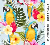seamless macaw and flowers | Shutterstock .eps vector #1055571635