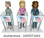 a diverse group of women cast... | Shutterstock .eps vector #1055571641