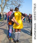 Small photo of Odessa, Ukraine - April 1, 2016: People celebrate Humorina. Humorina is a great cheerful humor fest, annually held on the April Fool's Day. Carnival clown humorous festival procession