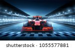 race driver pass the finishing... | Shutterstock . vector #1055577881