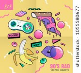 the 90's rad. 90's style vector ... | Shutterstock .eps vector #1055580677