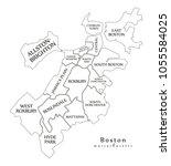 modern city map   boston... | Shutterstock .eps vector #1055584025