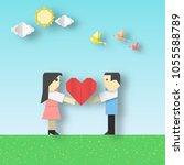 happy love origami scene with... | Shutterstock .eps vector #1055588789