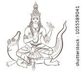 hindu god varuna sitting on the ... | Shutterstock .eps vector #1055589041