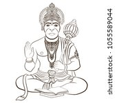 indian god hanuman with the... | Shutterstock .eps vector #1055589044