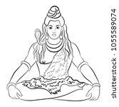 lord shiva in meditation.... | Shutterstock .eps vector #1055589074
