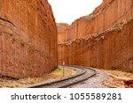 railroad tracks in the desert...   Shutterstock . vector #1055589281
