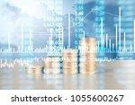 coin stacks   business money... | Shutterstock . vector #1055600267