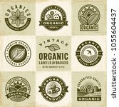 vintage organic labels and... | Shutterstock .eps vector #1055604437