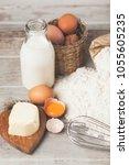 basic baking ingredients | Shutterstock . vector #1055605235