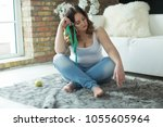 woman with a thick figure   | Shutterstock . vector #1055605964