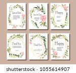 a set of postcards with flowers ... | Shutterstock .eps vector #1055614907