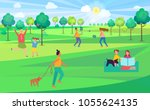 people spending leisure time in ... | Shutterstock .eps vector #1055624135
