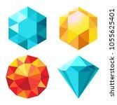 set of diamonds in orange and... | Shutterstock .eps vector #1055625401