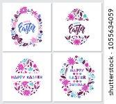 vector easter greeting cards... | Shutterstock .eps vector #1055634059