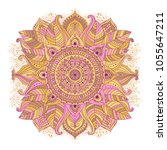 floral mandala hand drawn pink... | Shutterstock .eps vector #1055647211
