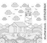 lighthouse coloring book page... | Shutterstock .eps vector #1055658464