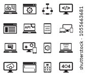 programming icons. black flat... | Shutterstock .eps vector #1055663681