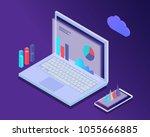 big data concept isometric... | Shutterstock .eps vector #1055666885