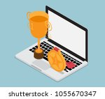 laptop with gold trophy... | Shutterstock .eps vector #1055670347