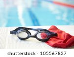 image of swimming pool  goggles ... | Shutterstock . vector #105567827