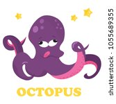 funny purple cartoon octopus....   Shutterstock .eps vector #1055689355
