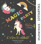 birthday party card with... | Shutterstock .eps vector #1055689361