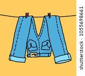 vector illustration jeans hang... | Shutterstock .eps vector #1055698661