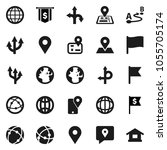 flat vector icon set   world... | Shutterstock .eps vector #1055705174
