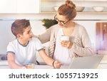 take a break. delighted boy...   Shutterstock . vector #1055713925