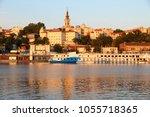 belgrade sunset lit skyline.... | Shutterstock . vector #1055718365
