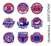 set of fitness logo badges | Shutterstock .eps vector #1055727434