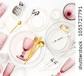 tableware and decorations for... | Shutterstock . vector #1055727791
