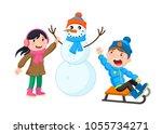 children in winter. girl makes... | Shutterstock .eps vector #1055734271