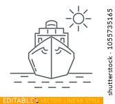 ship front view icon. editable... | Shutterstock .eps vector #1055735165