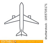 top view airplane. editable... | Shutterstock .eps vector #1055735171