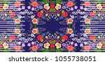 unique seamless floral striped... | Shutterstock .eps vector #1055738051