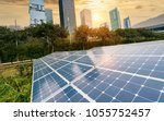 solar panel plant with urban... | Shutterstock . vector #1055752457