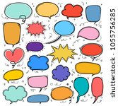 hand drawn bubbles set. doodle... | Shutterstock .eps vector #1055756285