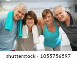 group of senior people in... | Shutterstock . vector #1055756597