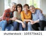 group of senior friends sitting ...   Shutterstock . vector #1055756621