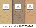 cup of coffee set pattern of... | Shutterstock .eps vector #1055756747
