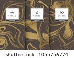 cup of coffee set pattern of... | Shutterstock .eps vector #1055756774
