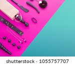 Stock photo different sex toys are on the background in the color block style fuchsia and green the wand 1055757707
