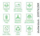 Vector set of design elements, logo design template, icons and badges for natural and organic cosmetics in trendy linear style - cruelty free, not tested on animals, paraben free, gluten free, organic