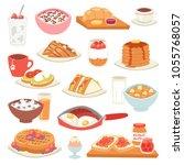 breakfast vector coffee and... | Shutterstock .eps vector #1055768057