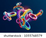 3d  decorative  rings. colorful ... | Shutterstock .eps vector #1055768579