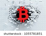 explosive growth of bitcoin  3d ...   Shutterstock . vector #1055781851