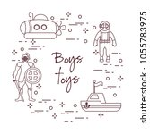 children's toys for the boy ...   Shutterstock .eps vector #1055783975