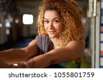 attractive young woman in... | Shutterstock . vector #1055801759